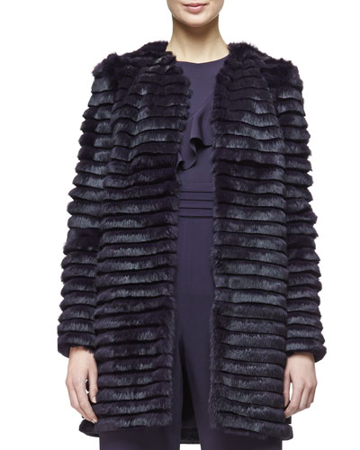 Open-Front Striped Fur Coat, Aubergine