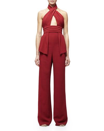 Jacqualine Crisscross-Front Wide-Leg Jumpsuit, Ruby