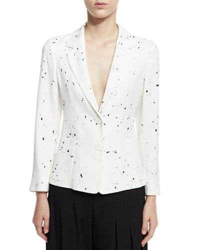 Paint Splatter Two-Button Blazer, Black/White