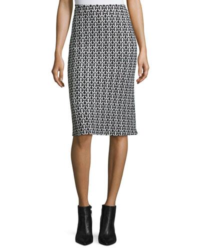 Crochet-Lace Pencil Skirt, Black/White