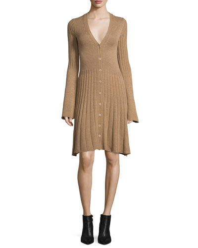 Bell-Sleeve Cashmere Cardigan Dress, Camel