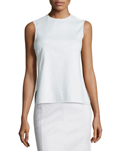 Sleeveless Peplum-Back Denim Top, White