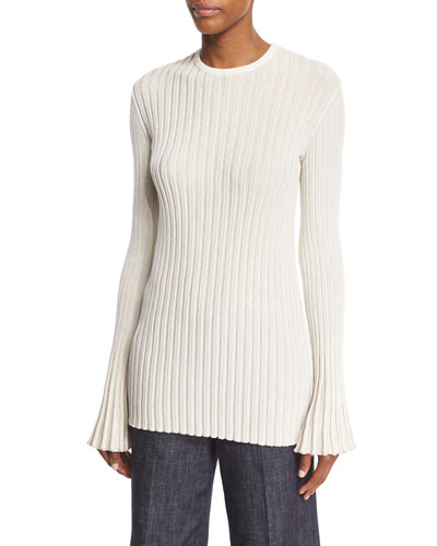 Bell-Sleeve Ribbed Pullover Top, Champagne