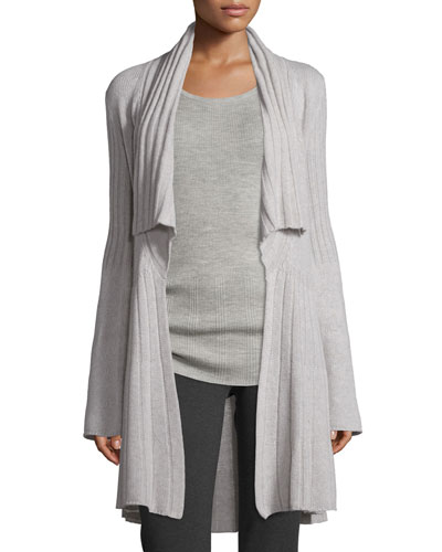 Open-Front Cozy Cashmere Sweater, Gray Melange