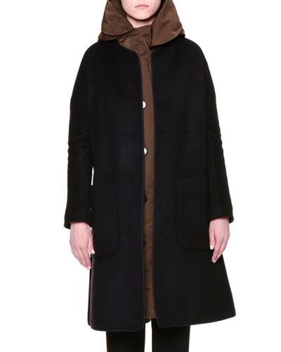 Cardigan-Style Coat W/Removable Liner, Black/Green