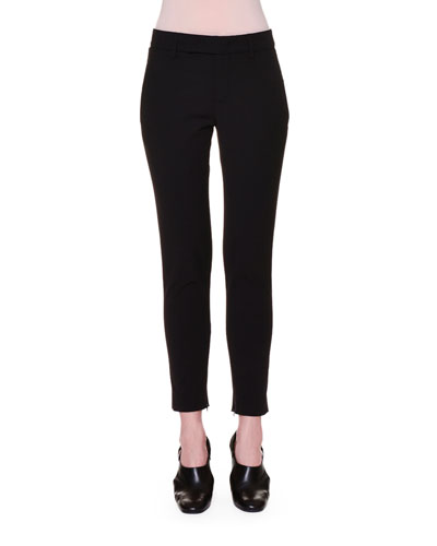 Classic Ankle-Zip Cropped Pants, Black