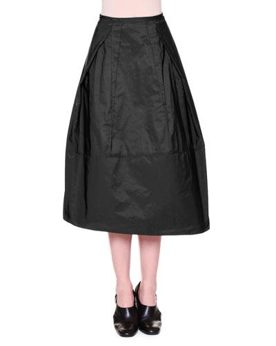 High-Waist Midi Skirt w/ Inside-Out Pleats, Black