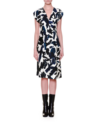 Cap-Sleeve Brushstroke-Print Dress, Multi Colors