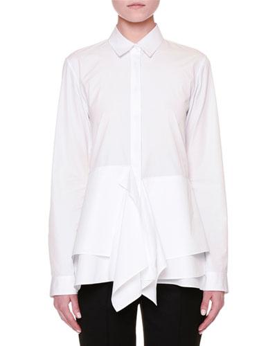 Long-Sleeve Layered-Hem Blouse, White