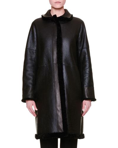 Reversible Shearling Fur Long Coat, Black