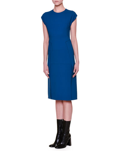 Cap-Sleeve Paneled-Skirt Sheath Dress, Blue