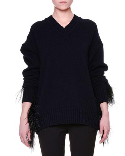 V-Neck Feather-Trim Fur Sweater, Black