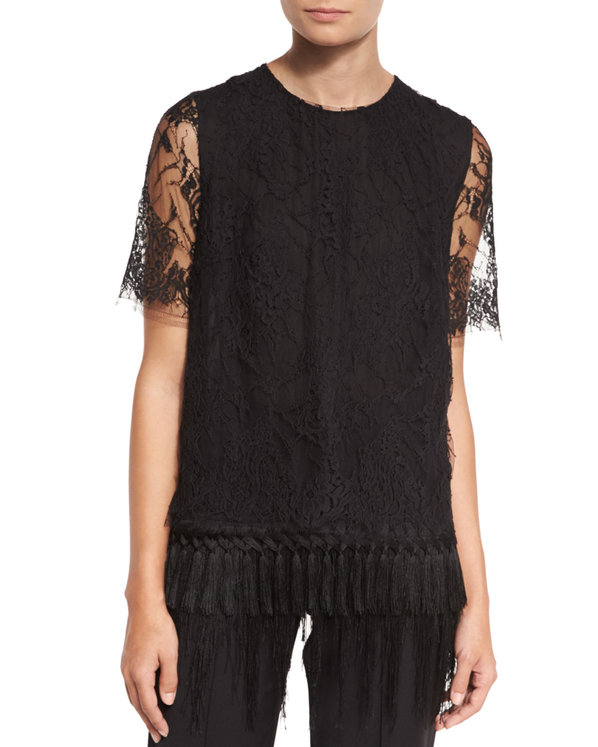 Short-Sleeve Lace T-Shirt W/Fringe Hem, Black