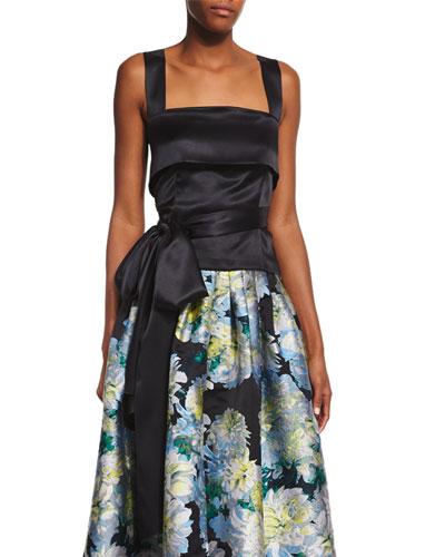 Sleeveless Waist-Bow Top, Black