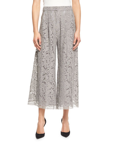 Pleated Guipure-Lace Culotte Pants, Nickel
