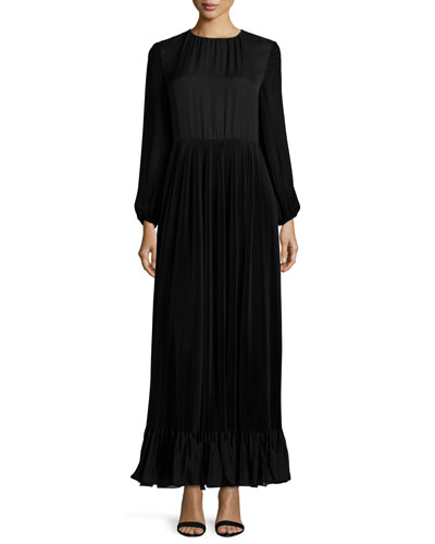 Long-Sleeve Pleated Chiffon Gown, Black