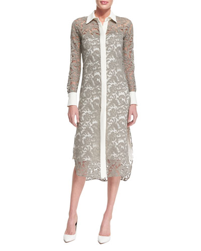 Long-Sleeve Lace Shirtdress, Nickel/Ivory