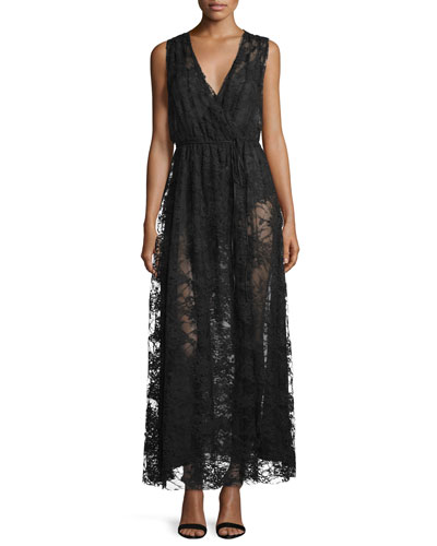 Sleeveless V-Neck Chantilly Lace Gown, Black