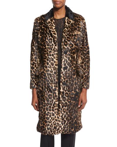 Button-Front Leopard-Print Fur Coat, Leopard