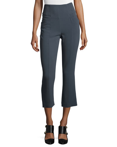 High-Waist Boot-Cut Cropped Pants, Slate