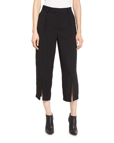 Pleated-Front Cropped Pants, Black