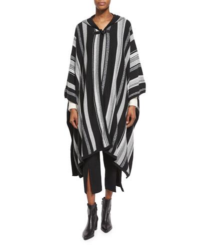 Long-Sleeve Hooded Poncho, Black Stripe