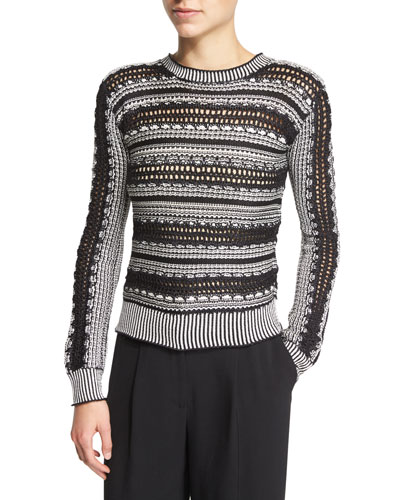 Long-Sleeve Crochet-Striped Sweater, Black/White