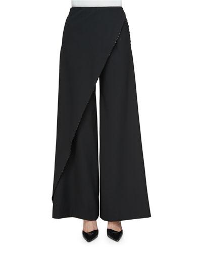 Asymmetric-Wrap Wide-Leg Pants, Black