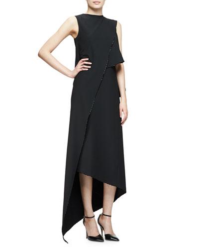 Sleeveless Asymmetric Midi Dress, Black