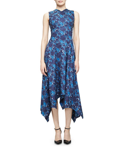 Sleeveless Floral-Print Handkerchief-Hem Dress, Blue