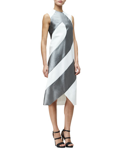 Sleeveless Textured Two-Tone Shift Dress, White Aluminum