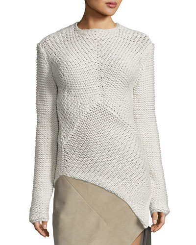 Asymmetric-Hem Cashmere Sweater, White