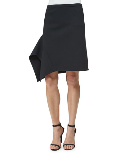 Low-Rise Asymmetric Skirt, Black