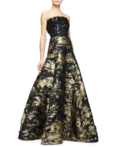 Strapless Embellished-Bodice Metallic Gown, Gold/Black
