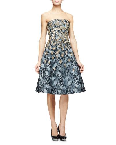 Strapless Degrade-Embellished Dress, Multi Colors