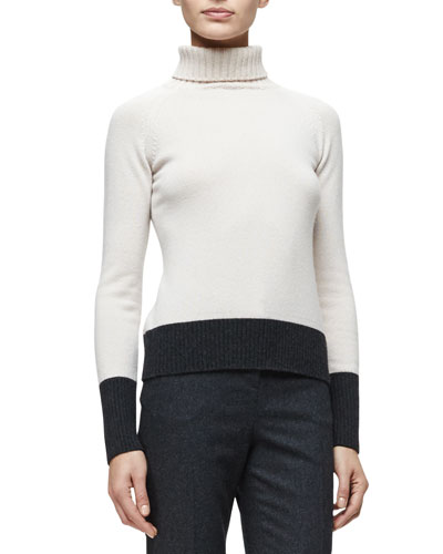 Turtleneck Two-Tone Cashmere Sweater, Nude/Charcoal