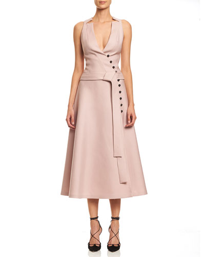 Sleeveless Wrap A-line Midi Dress, Powder Pink