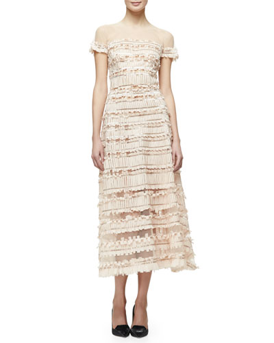 Short-Sleeve Tulle-Embroidered Midi Dress, Nude