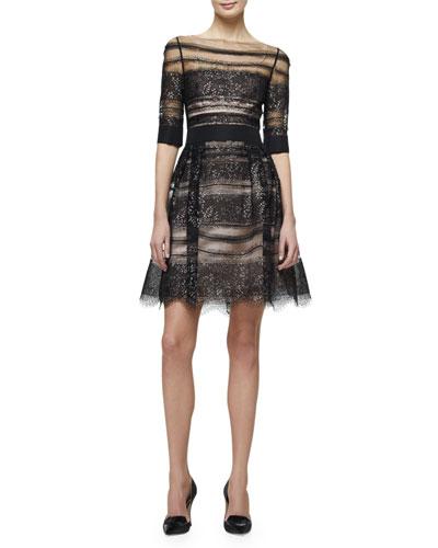 Half-Sleeve Metallic-Lace Fit & Flare Dress, Black/Purple