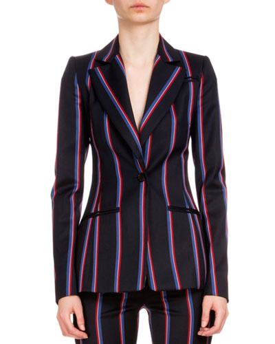 Acacia One-Button Striped Blazer, Black