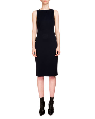 Shadow Sleeveless Sheath Dress, Navy