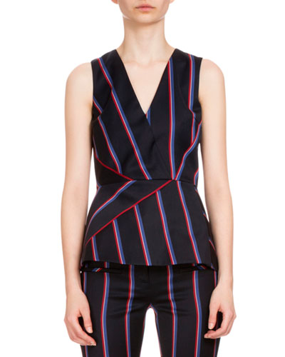 Miles Sleeveless Striped Peplum Top, Navy/Tango