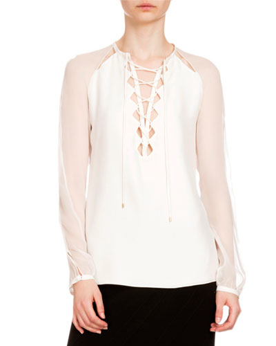 Benny Crepe Lace-Up Blouse, Natural White