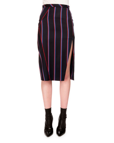 Monroe Striped Side-Slit Pencil Skirt, Navy/Tango