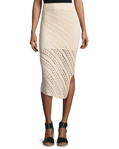 Miller Crochet Side-Slit Pencil Skirt, Cream