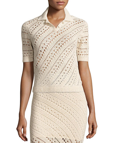 Fontaine Short-Sleeve Crochet Top, Cream