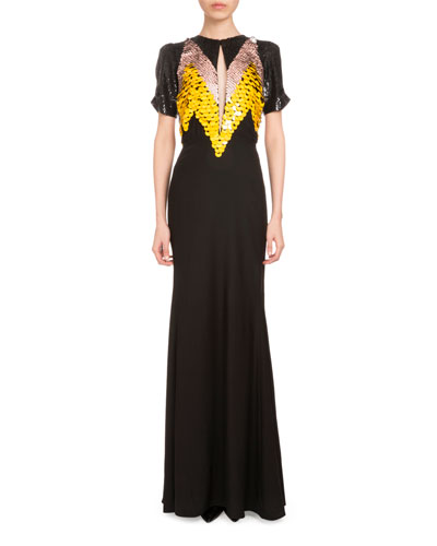 Loretta Short-Sleeve Paillette Gown, Black