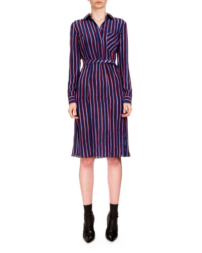 Marian Striped Silk Shirtdress, Navy/Red