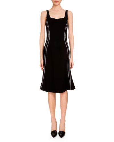 Sophia Sleeveless Flounce-Hem Dress, Black