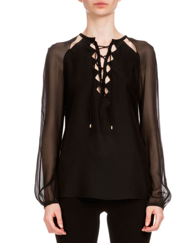 Benny Crepe Lace-Up Blouse, Black